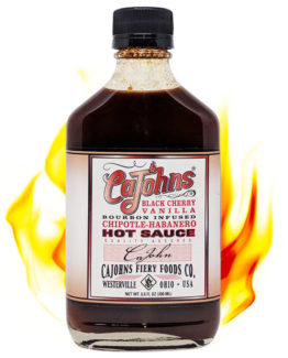 Cajohns Black Cherry Vanilla Bourbon Infused Chipotle Habanero Hot Sauce